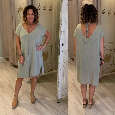 100% cotton Lisanne knit tuniek/dress - sage (licht army)