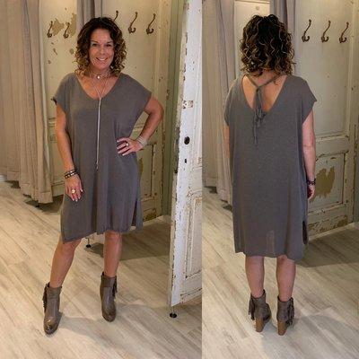 100% cotton Lisanne knit tuniek/dress - taupe