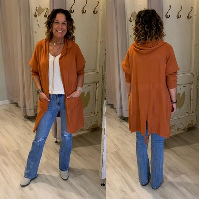 HOPE knitted capuchon vest ROEST