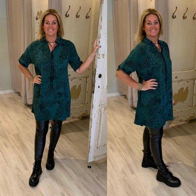 Loisa leopard print tuniek/dress met kraag - gucci green