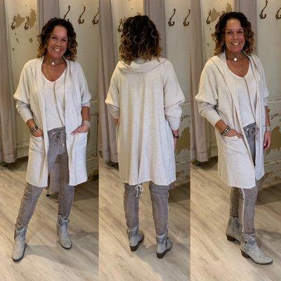HOPE knitted capuchon vest ECRU/BEIGE