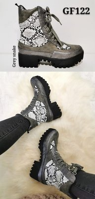 GIGA boots snake print army & zilver