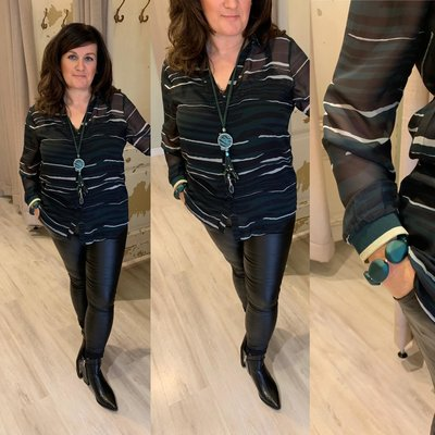 Exxcellent blouse Billy - Groen/wit/zwart