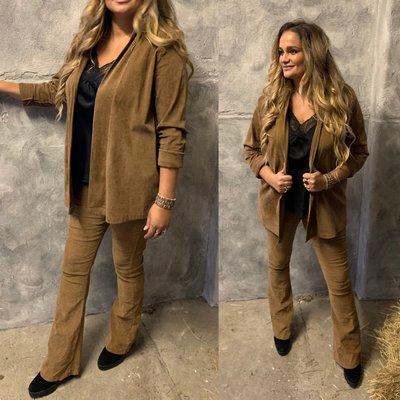 Laura suede/rib jacket CAMEL