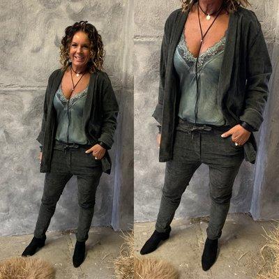 Laura suede/rib jacket ARMY