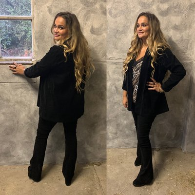 Laura suede/rib jacket BLACK
