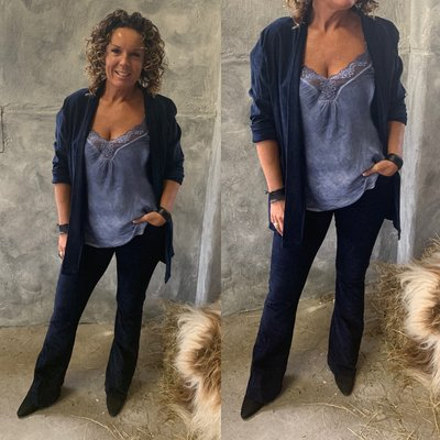 Laura suede/rib jacket BLAUW