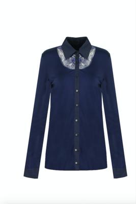 G MAXX blouse met lace - BLAUW