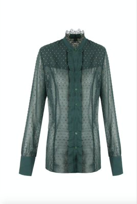 G MAXX Denise Lace blouse - gucci green