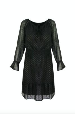 G MAXX Lianne dress - black met stippen