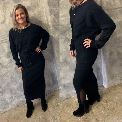 Julia knit set - (rok & trui) zwart