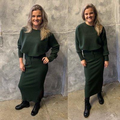 Julia knit set - (rok & trui) army