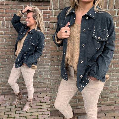 Kristin suede baby rib jacket met zilveren studs - ANTRASIET