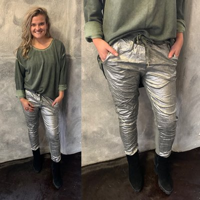 Rianna Joggingbroek metallic - army