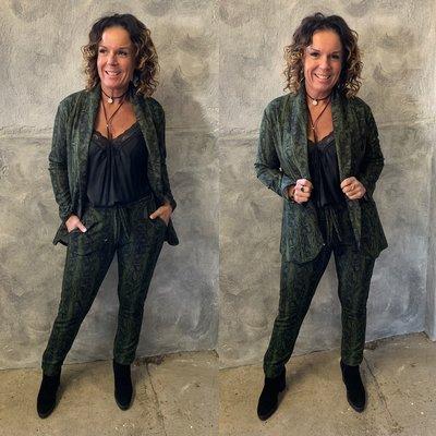 2 deligpak Olivia army/zwart (blazer + pantalon)