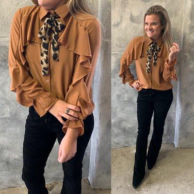 Amé Roesel blouse - roest met LEOPARD strik