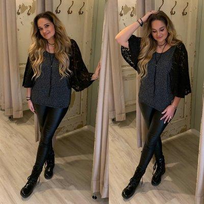 Lina sparkle lace top met vlindermouw - zwart