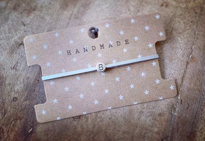 Initiaal bracelet/armband B zilver