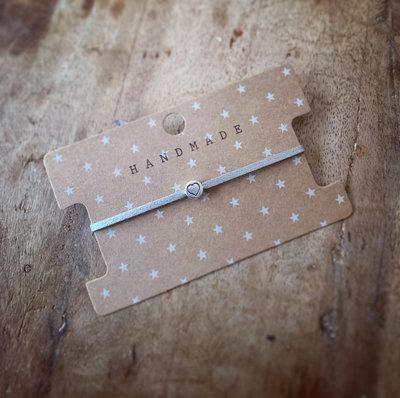 Initiaal bracelet/armband hartje zilver
