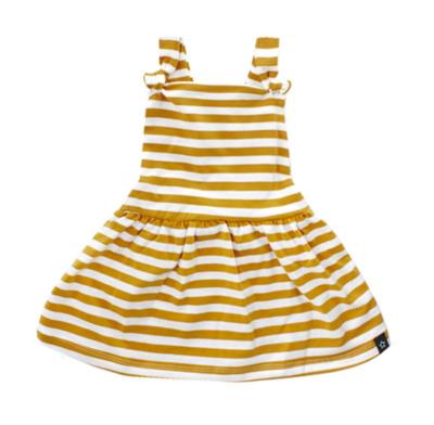 Ochre Stripes | Dungaree Dress