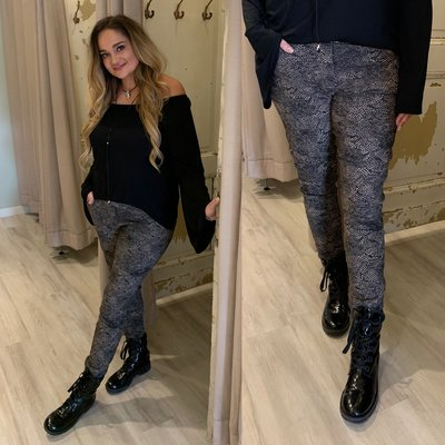 Cecile Print joggingbroek - zwart/taupe