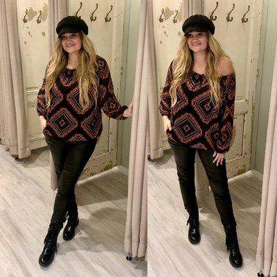Claudia blouse met paisley print zwart