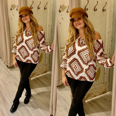 Claudia blouse met paisley print wit