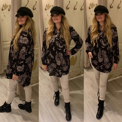 The paisley blouse zwart/beige