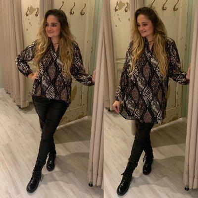 The paisley blouse mix Animal print zwart/beige