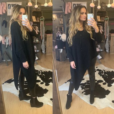 Asymmetric Teddy sweater - zwart