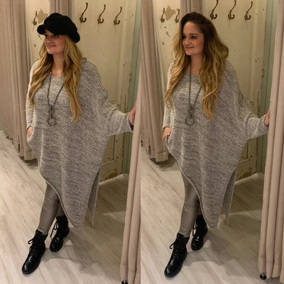 Asymmetric Teddy sweater - grey/noir