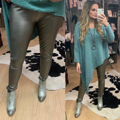 ZOE leather metallic legging ZILVER