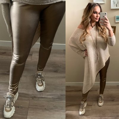 ZOE leather metallic legging GOUD/BRONS
