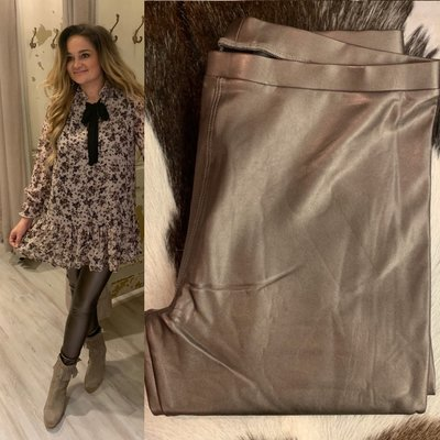 ZOE leather metallic legging DARK ZILVER