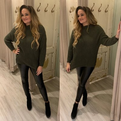 Esther RIB sweater - army