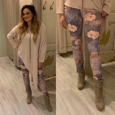 Flowerprint jeans (twee kanten draagbaar) roze