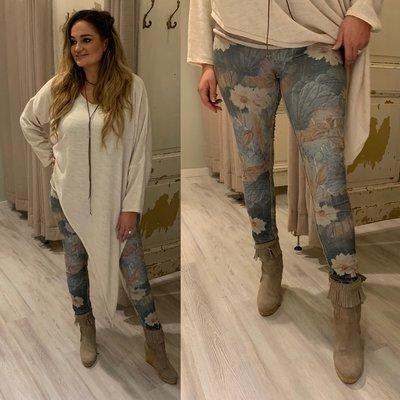 Flowerprint jeans (twee kanten draagbaar) army