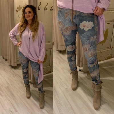 Flowerprint jeans (twee kanten draagbaar) jeans blauw