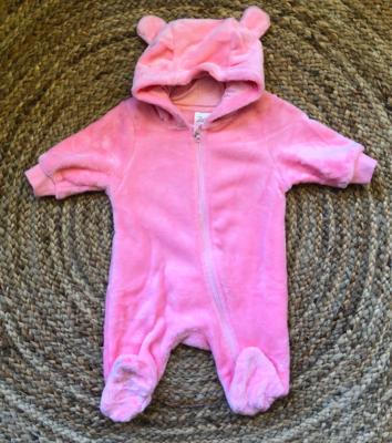 newborn onesie teddy - pink
