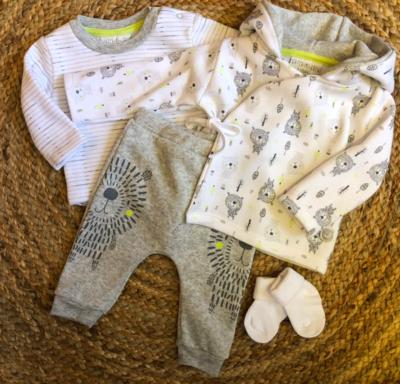 Newborn bears & tree set - grey