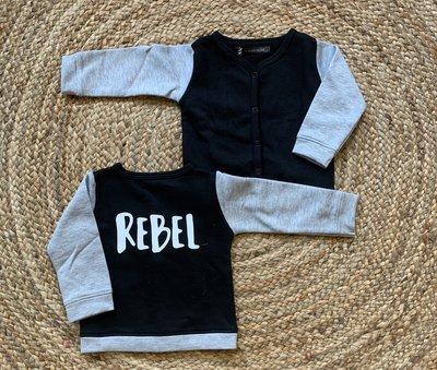 CARDIGAN REBEL - zwart/grijs