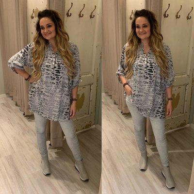 Jesmin Leopard PRINT blouse/tuniek grijs