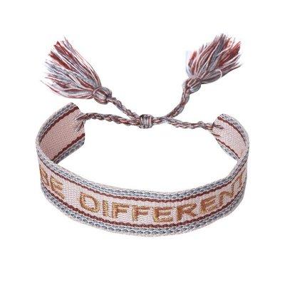 Armband Be Different - grijs roze
