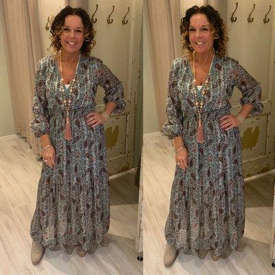 Isabeau Paisley print maxi dress - mint