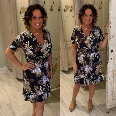ANOUK taille dress - PALM/TIGER print
