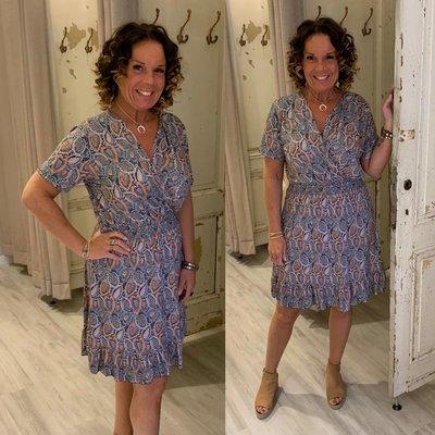 ANOUK taille dress - 0.1 PAISLEY print blauw/bruin