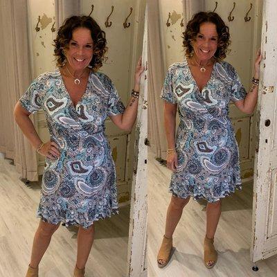ANOUK taille dress - PAISLEY print petrol