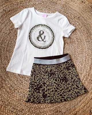 Girl t-shirt LEOPARD - WIT/ARMY