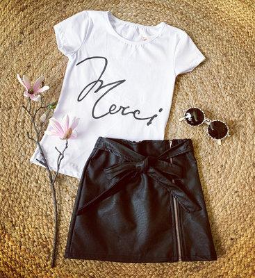 Girl leather look SKIRT - zwart