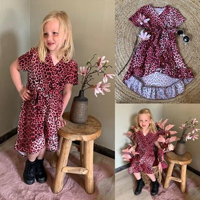 GIRL LEOPARD DRESS - ROZE/ZWART